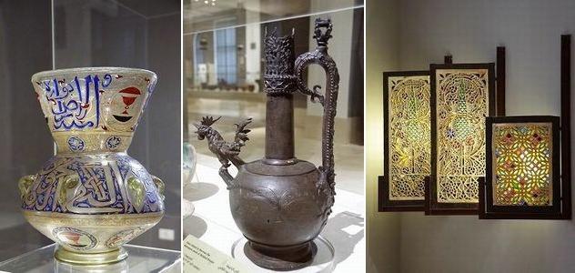左から、エナメル彩が施されたモスク・ランプ / ブロンズ製の水差し / イスラム風のステンド・グラス